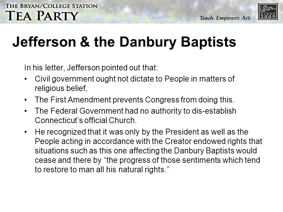 Jefferson & the Danbury Baptists