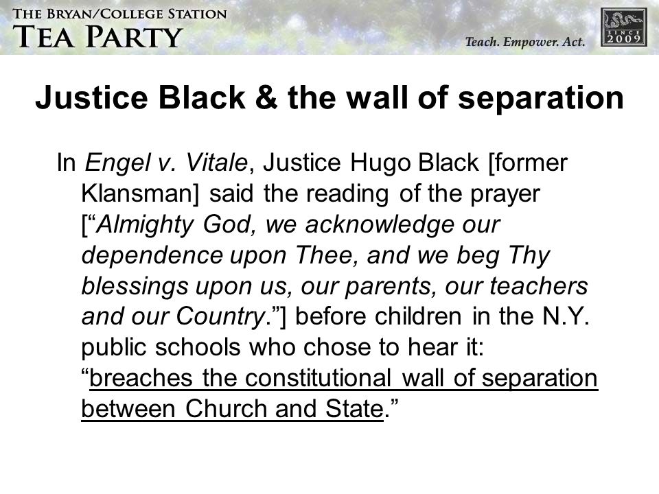 Justice Black & the wall of separation