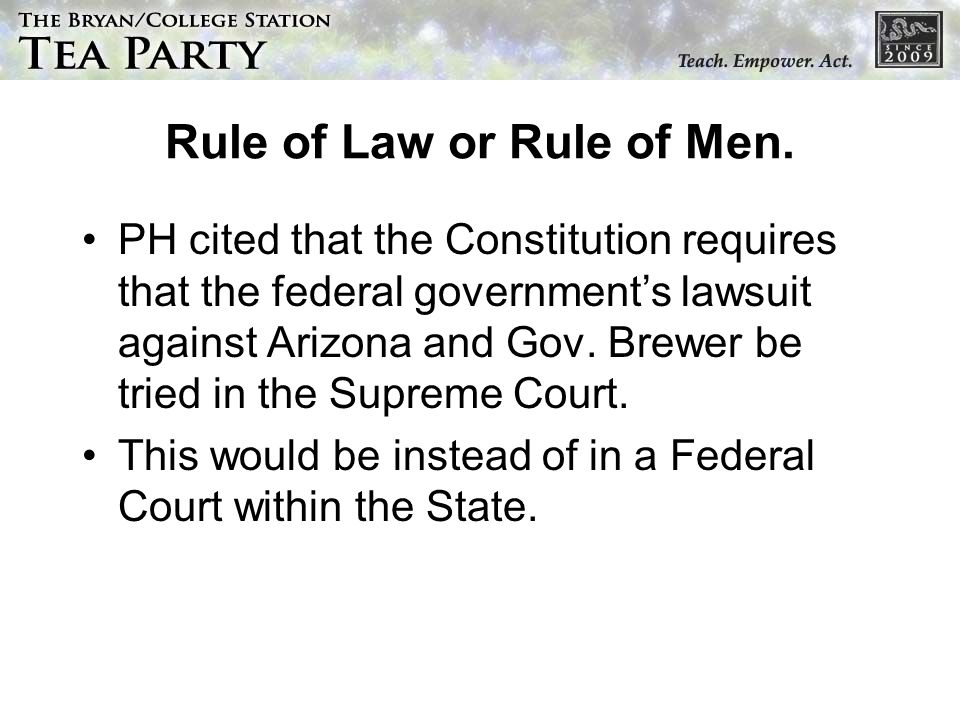 Rule of Law or Rule of Men.