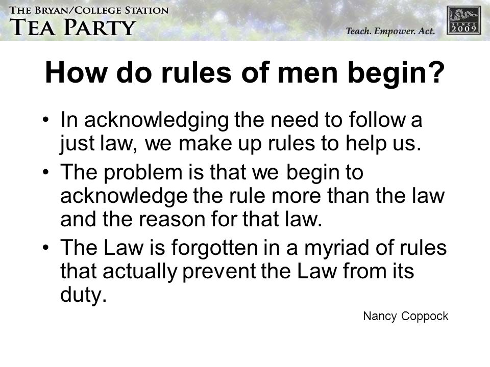 How do rules of men begin