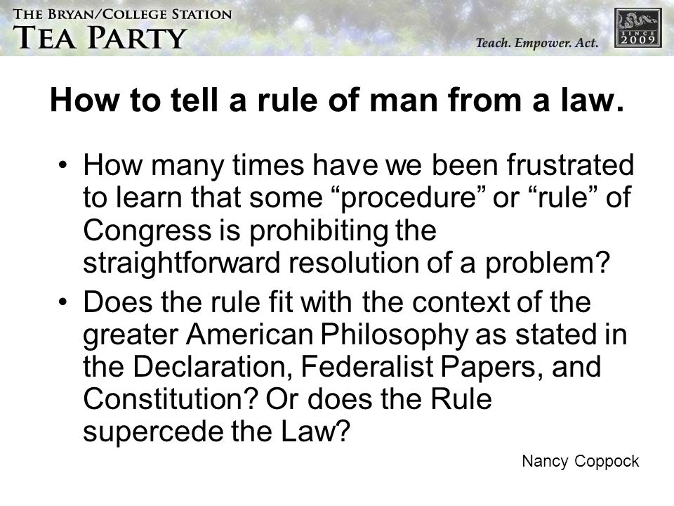 How to tell a rule of man from a law.