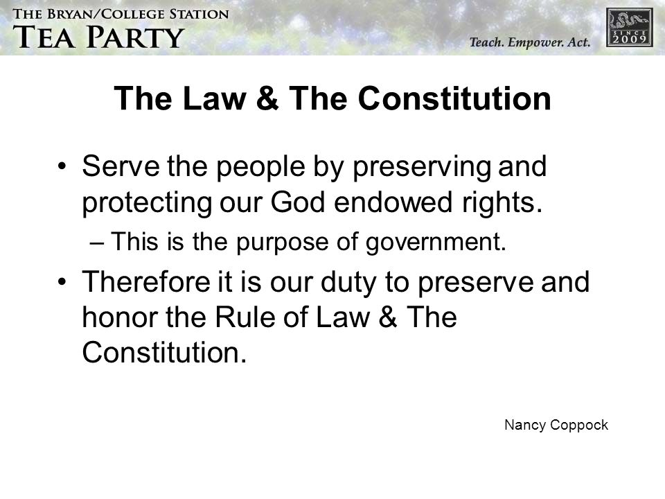 The Law & The Constitution