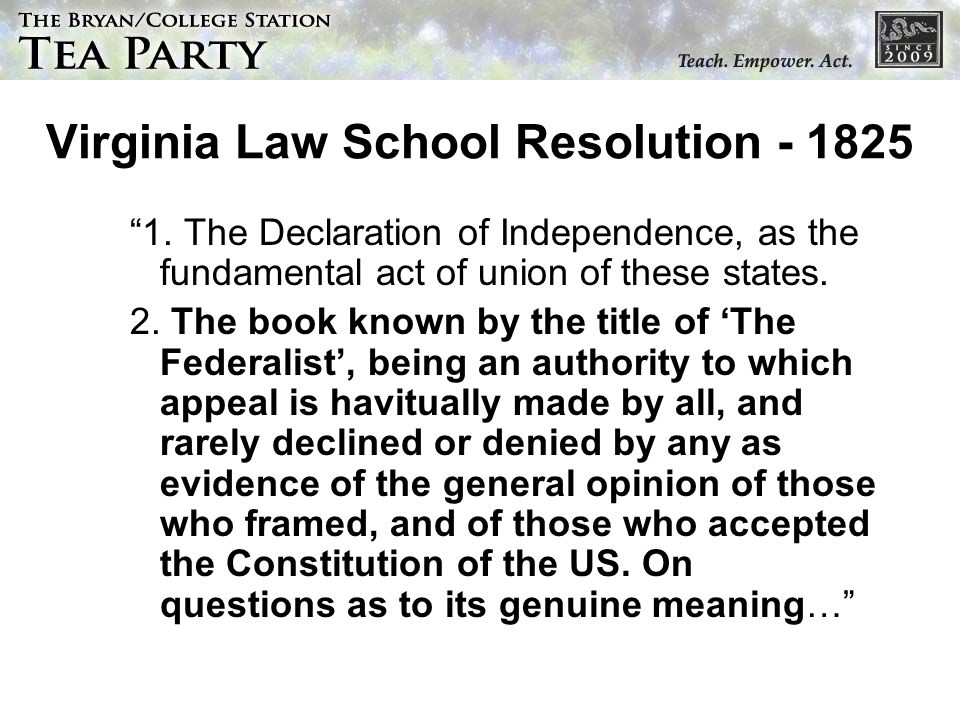 Virginia Law School Resolution - 1825