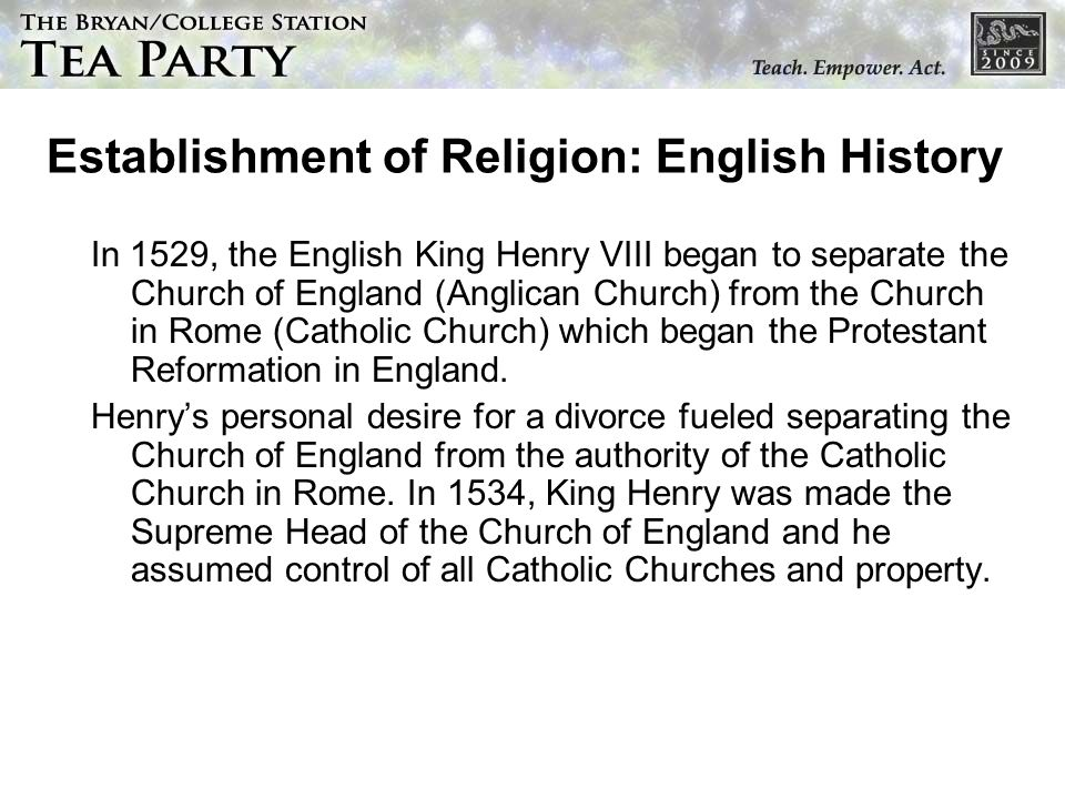 Establishment of Religion: English History