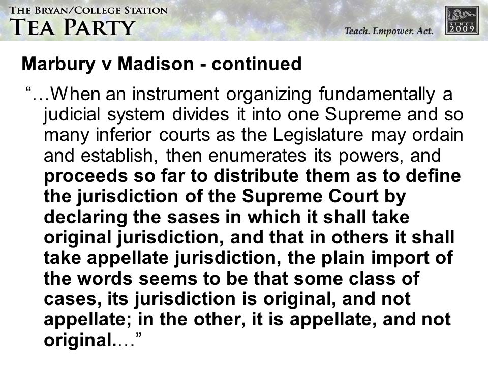 Marbury v Madison - continued