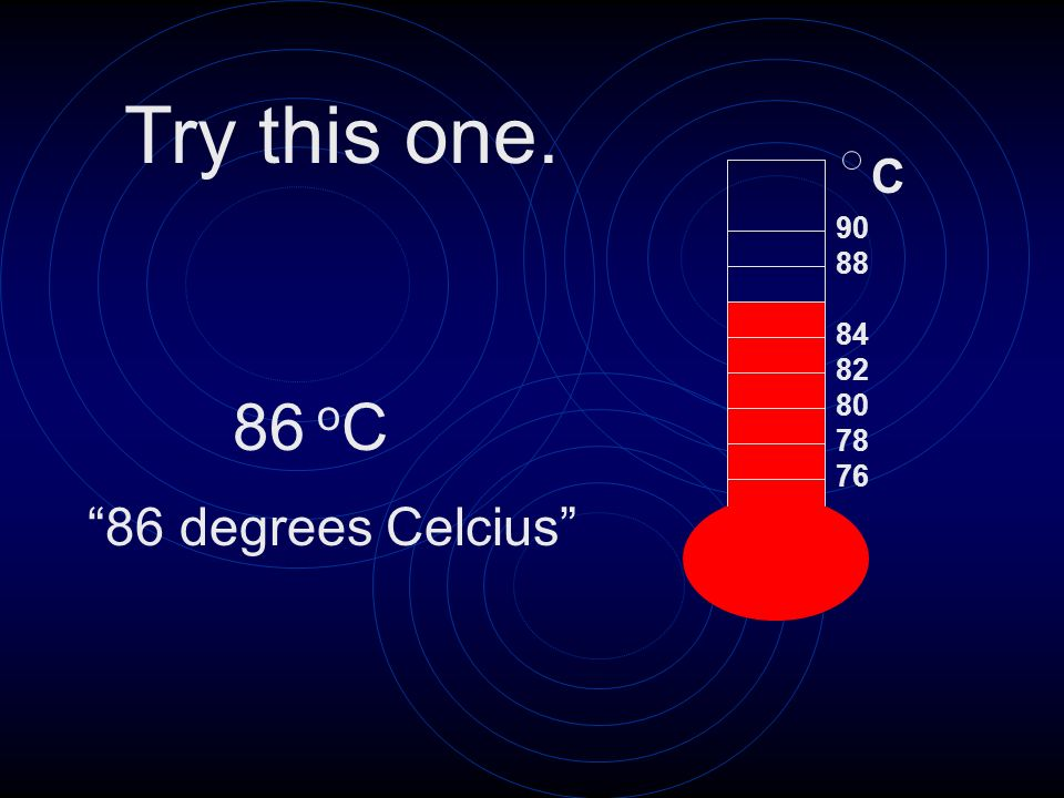 Try this one. C 90 88 84 82 oC 80 78 76 86 degrees Celcius