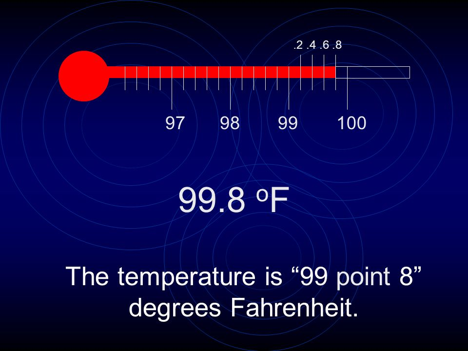 The temperature is 99 point 8 degrees Fahrenheit.