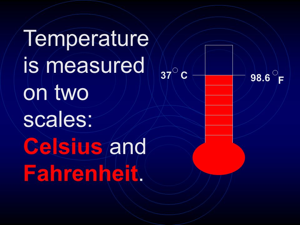 Temperature is measured on two scales: Celsius and Fahrenheit.