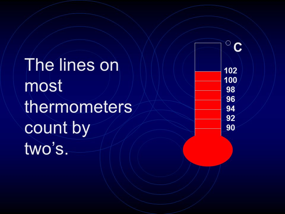 The lines on most thermometers count by two's.