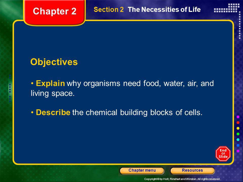 Chapter 2Section 2 The Necessities of Life. Objectives. Explain why organisms need food, water, air, and living space.