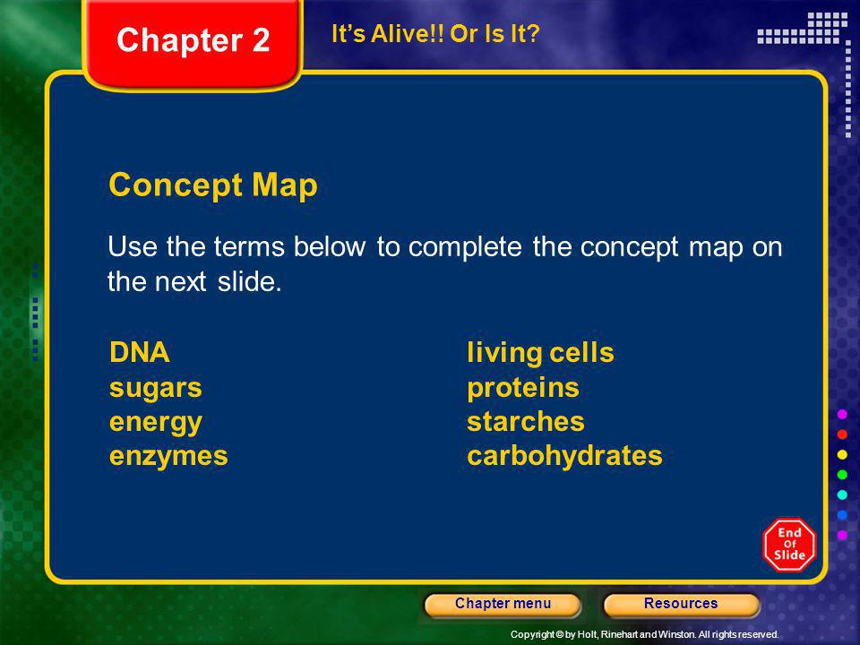Chapter 2 It's Alive!! Or Is It Concept Map. Use the terms below to complete the concept map on the next slide.