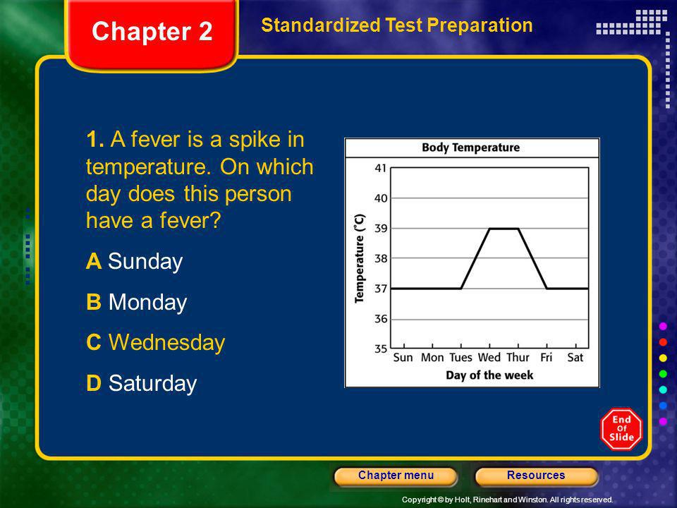 Chapter 2 Standardized Test Preparation. 1. A fever is a spike in temperature. On which day does this person have a fever
