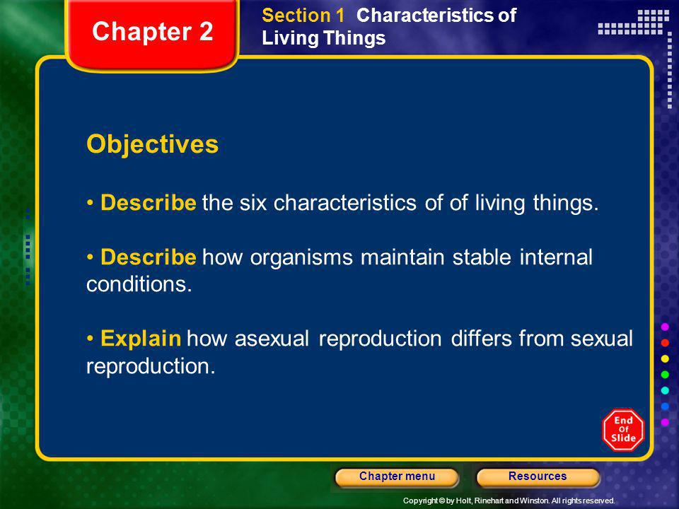 Section 1 Characteristics of Living Things