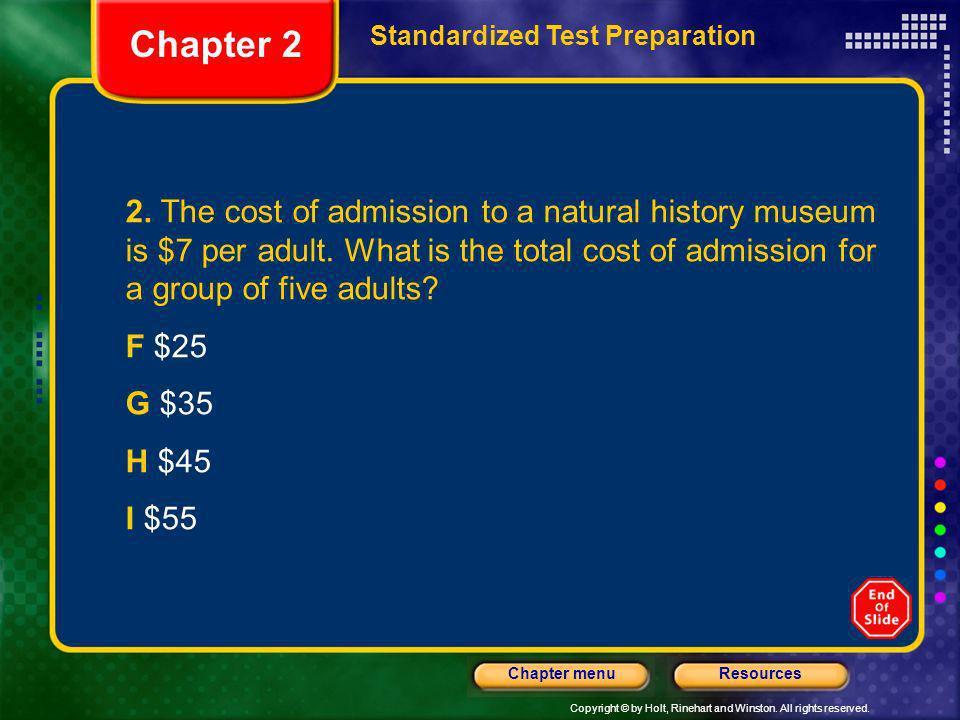 Chapter 2 Standardized Test Preparation.