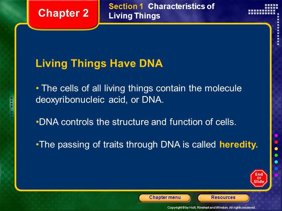 Chapter 2 Living Things Have DNA