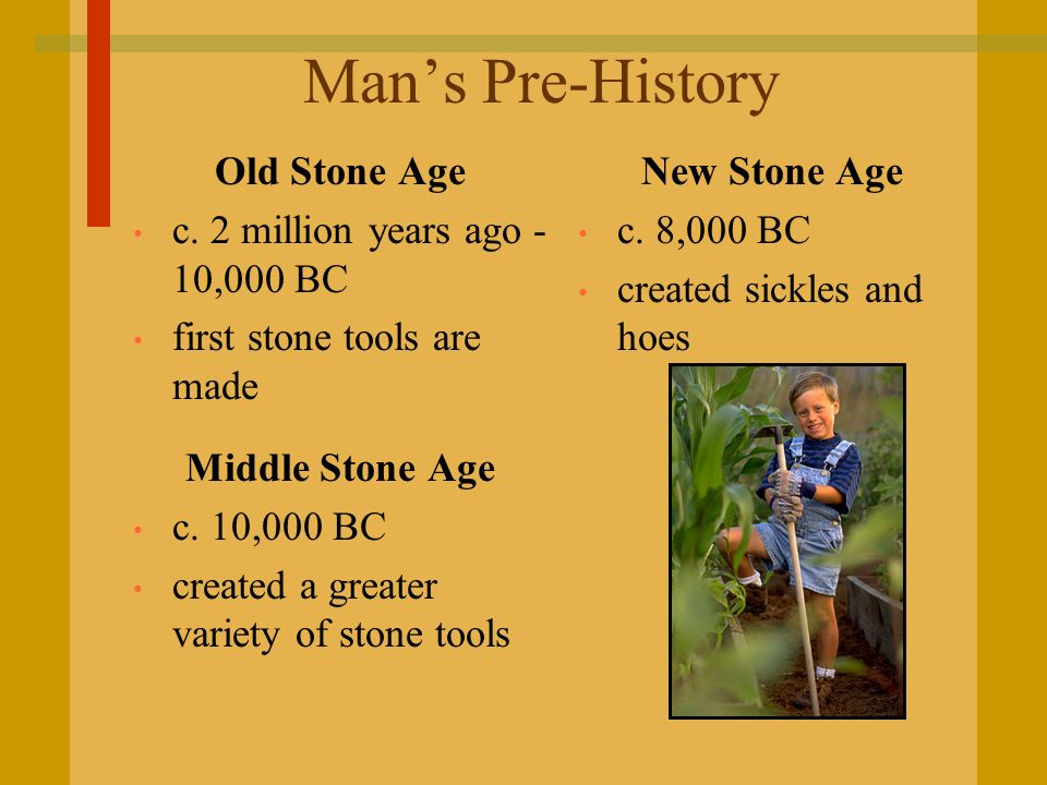 Man's Pre-History Old Stone Age c. 2 million years ago - 10,000 BC