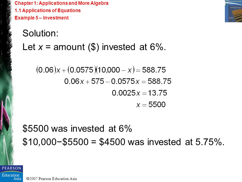 Let x = amount ($) invested at 6%.
