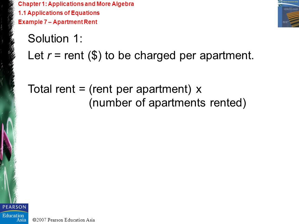 Let r = rent ($) to be charged per apartment.