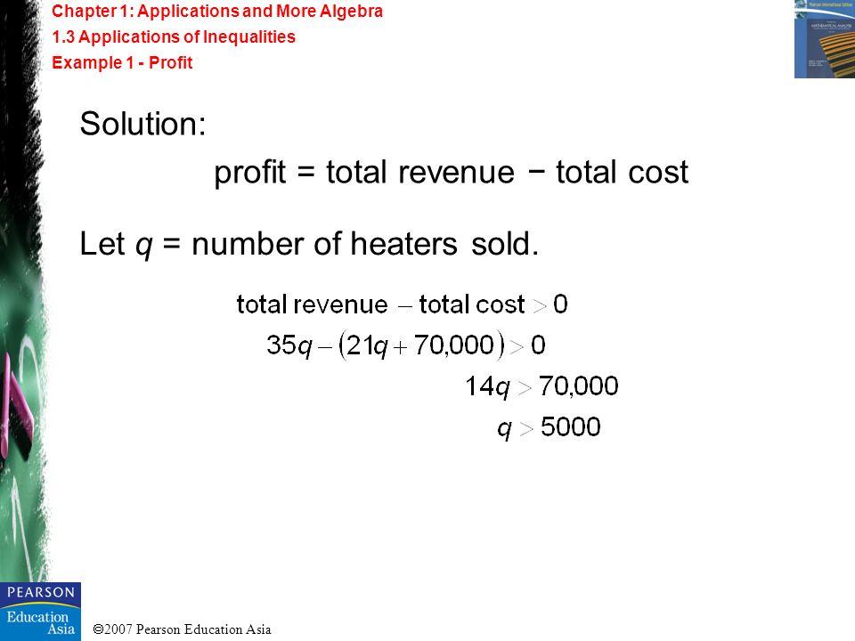 profit = total revenue − total cost