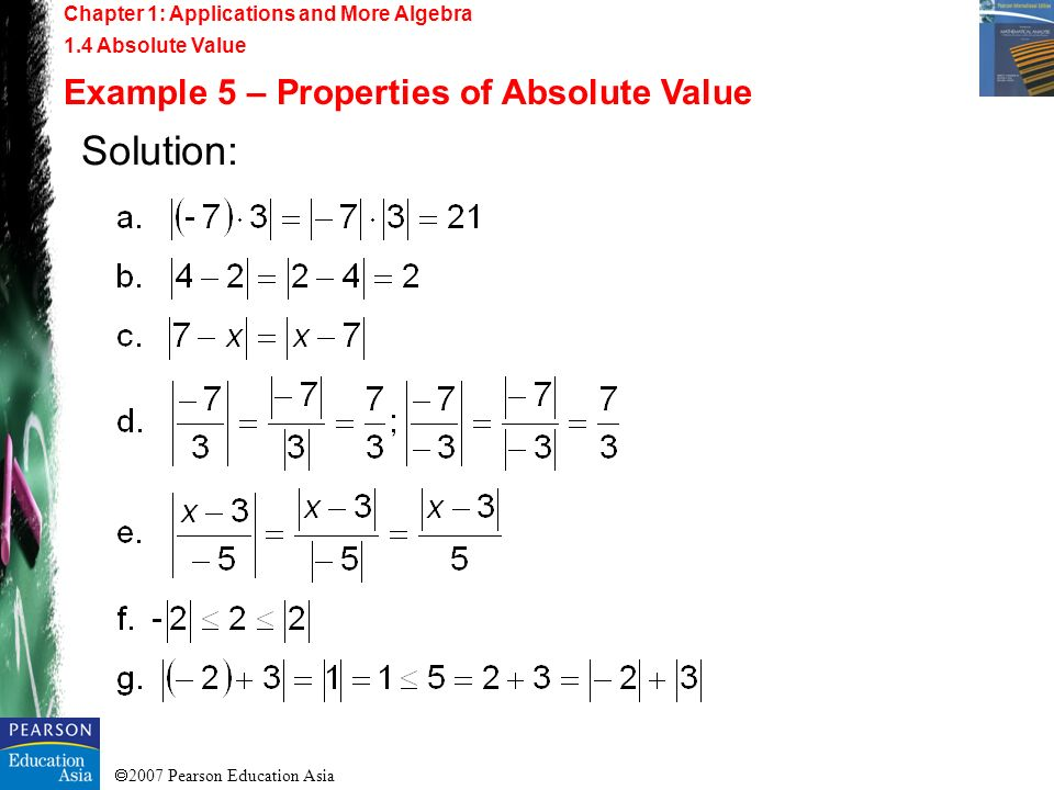 Solution: Example 5 – Properties of Absolute Value