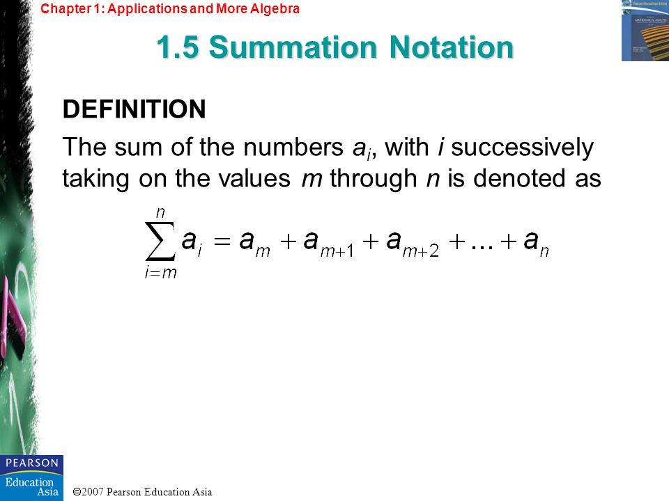1.5 Summation Notation DEFINITION