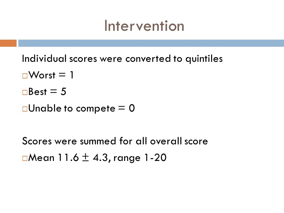 Intervention Individual scores were converted to quintiles Worst = 1