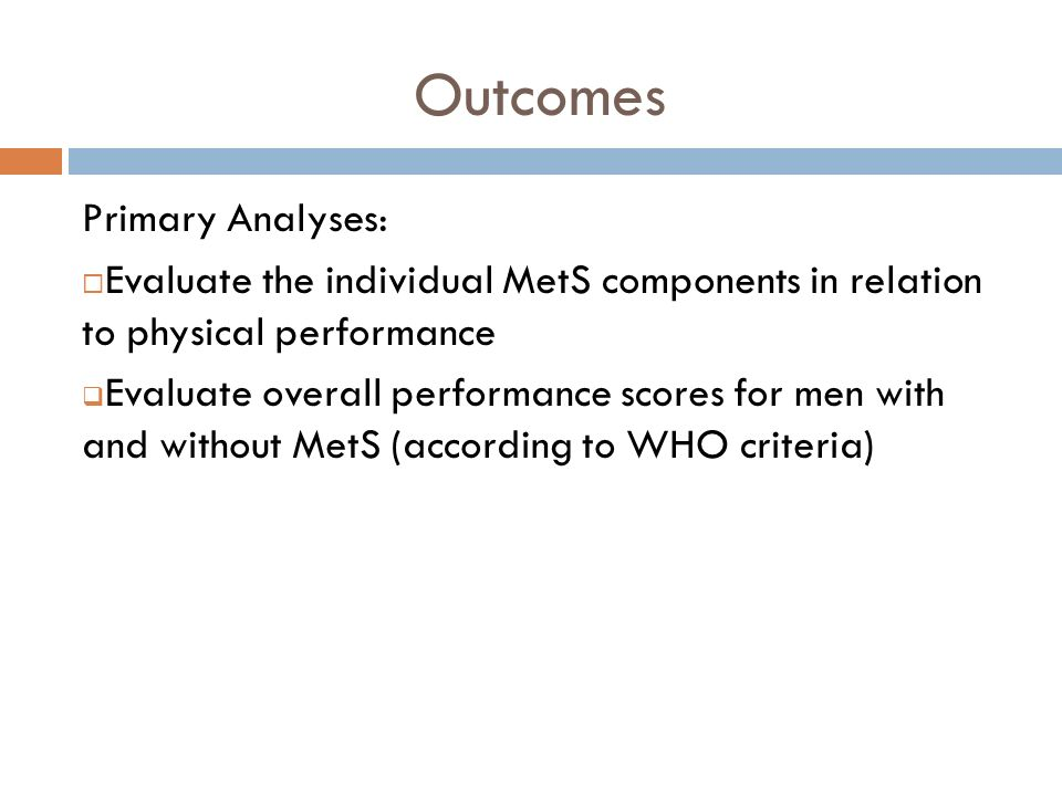Outcomes Primary Analyses: