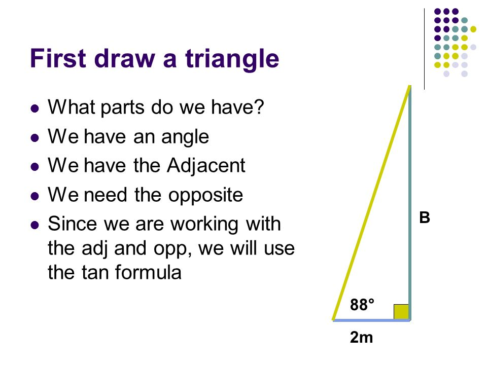 First draw a triangle What parts do we have We have an angle