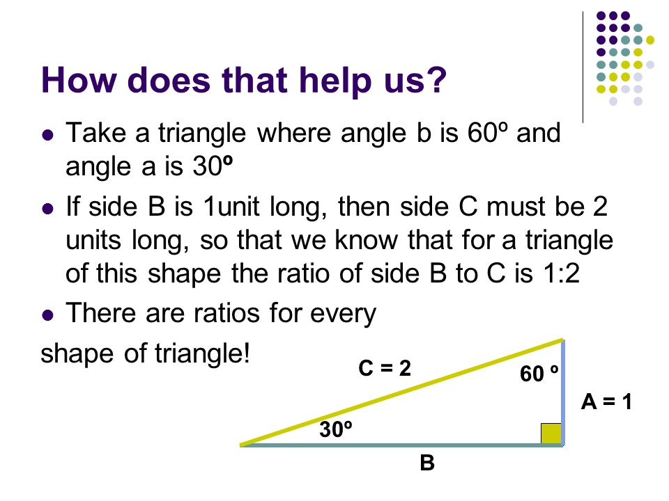 How does that help us Take a triangle where angle b is 60º and angle a is 30º.