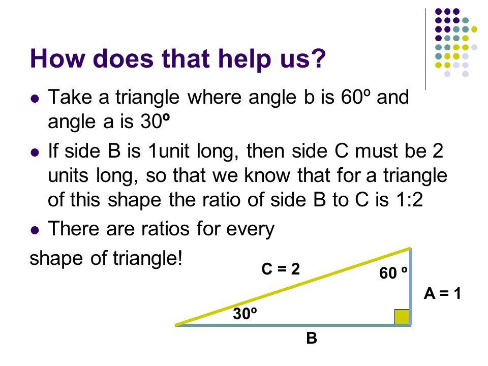 How does that help us Take a triangle where angle b is 60º and angle a is 30º.