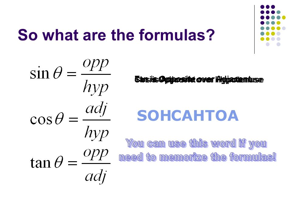 So what are the formulas