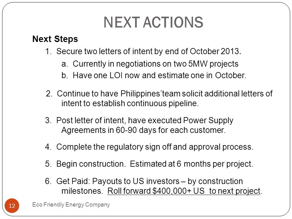 NEXT ACTIONS Next Steps