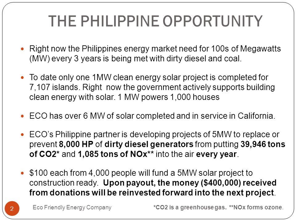 THE PHILIPPINE OPPORTUNITY