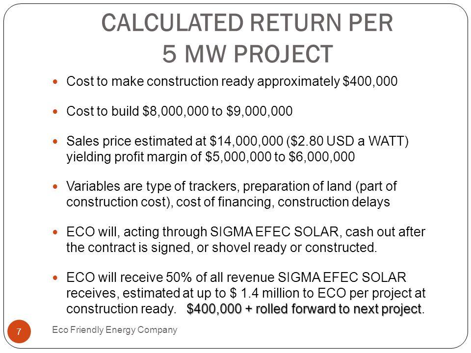 CALCULATED RETURN PER 5 MW PROJECT