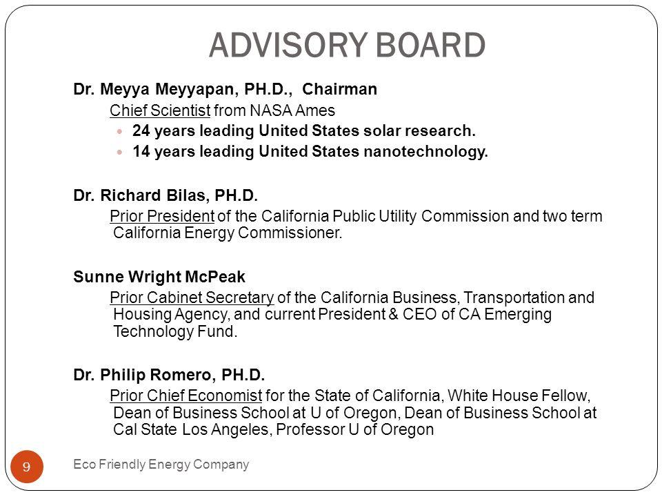 ADVISORY BOARD Dr. Meyya Meyyapan, PH.D., Chairman