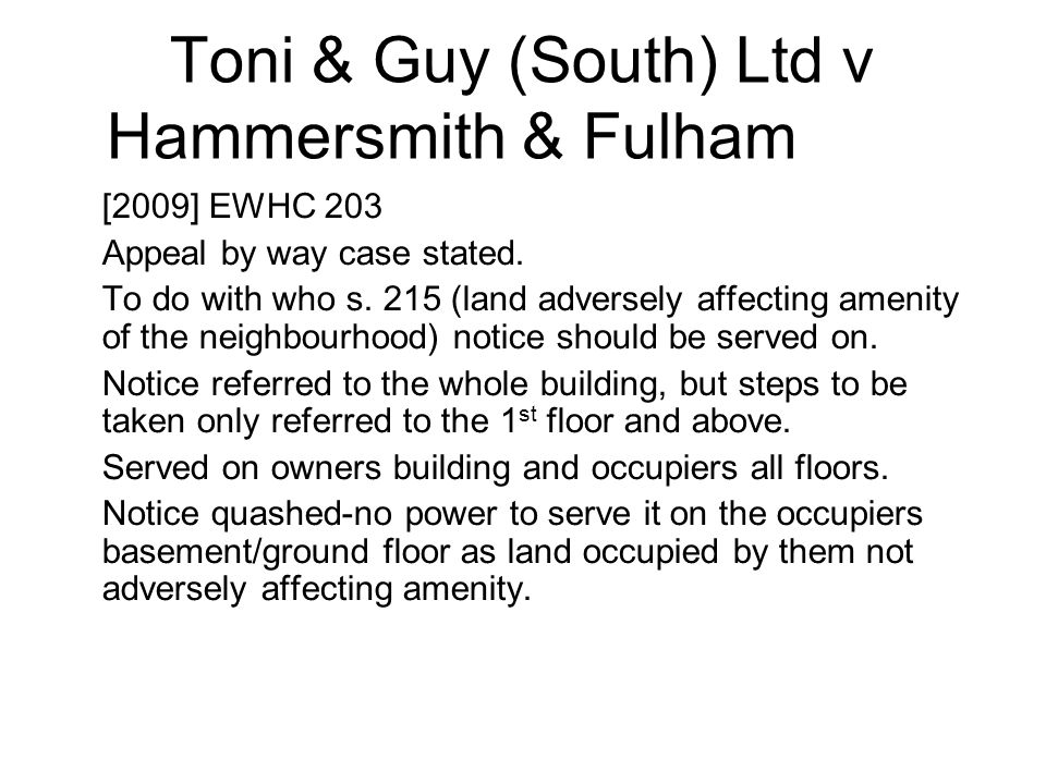 Toni & Guy (South) Ltd v Hammersmith & Fulham LBC