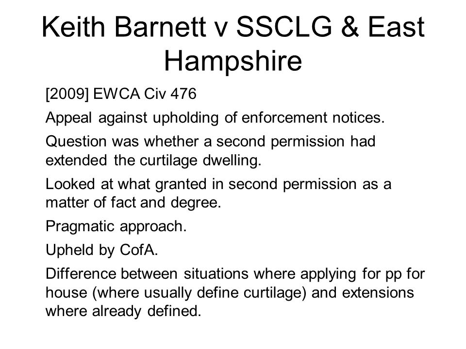 Keith Barnett v SSCLG & East Hampshire