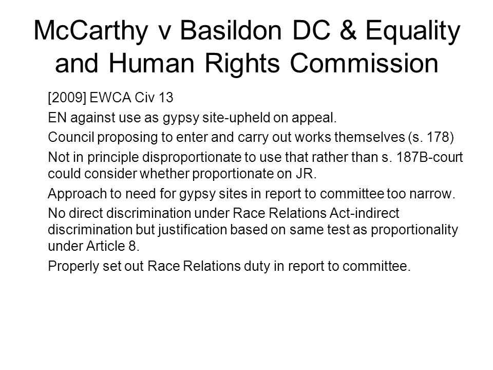 McCarthy v Basildon DC & Equality and Human Rights Commission