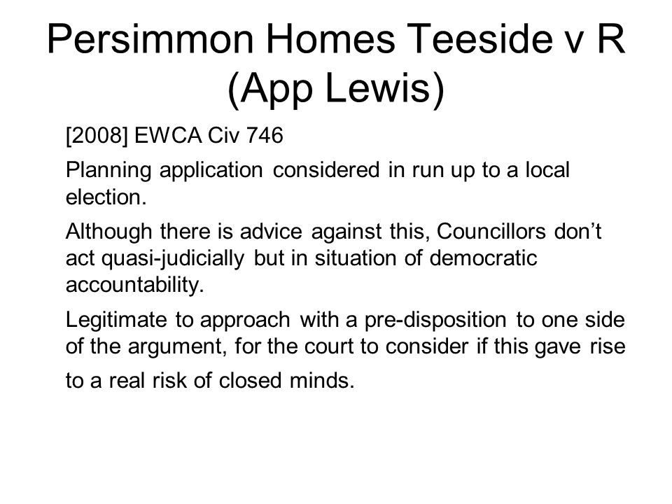 Persimmon Homes Teeside v R (App Lewis)