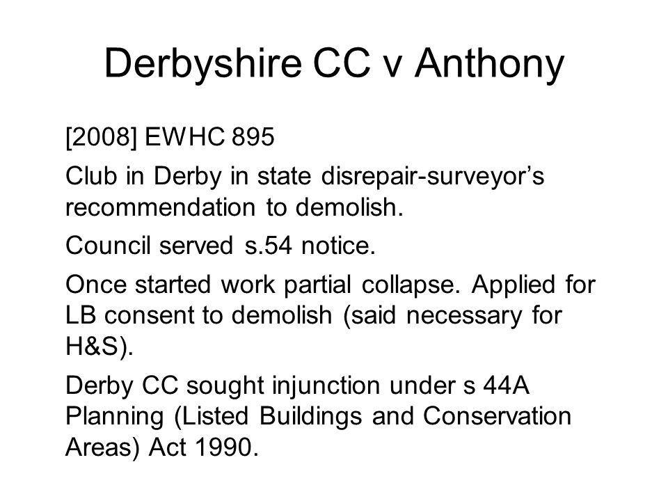Derbyshire CC v Anthony