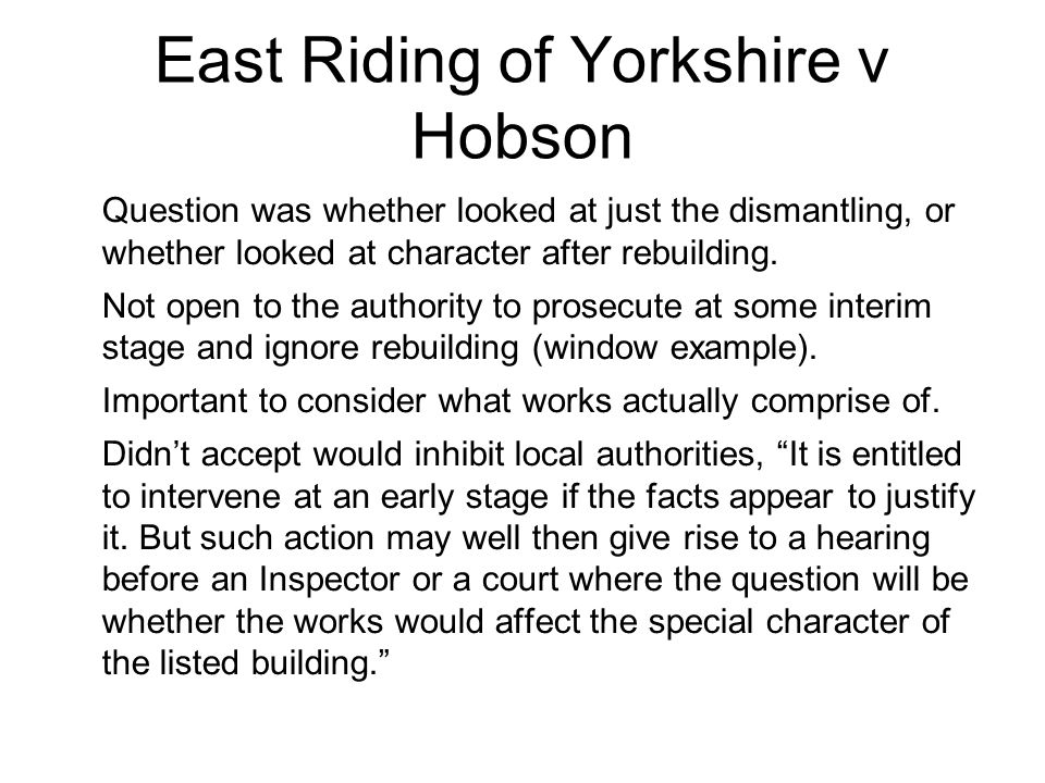East Riding of Yorkshire v Hobson