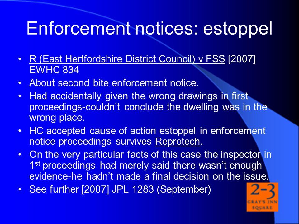 Enforcement notices: estoppel
