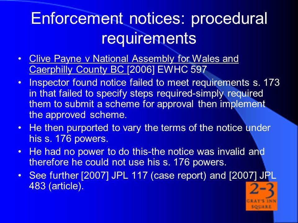 Enforcement notices: procedural requirements