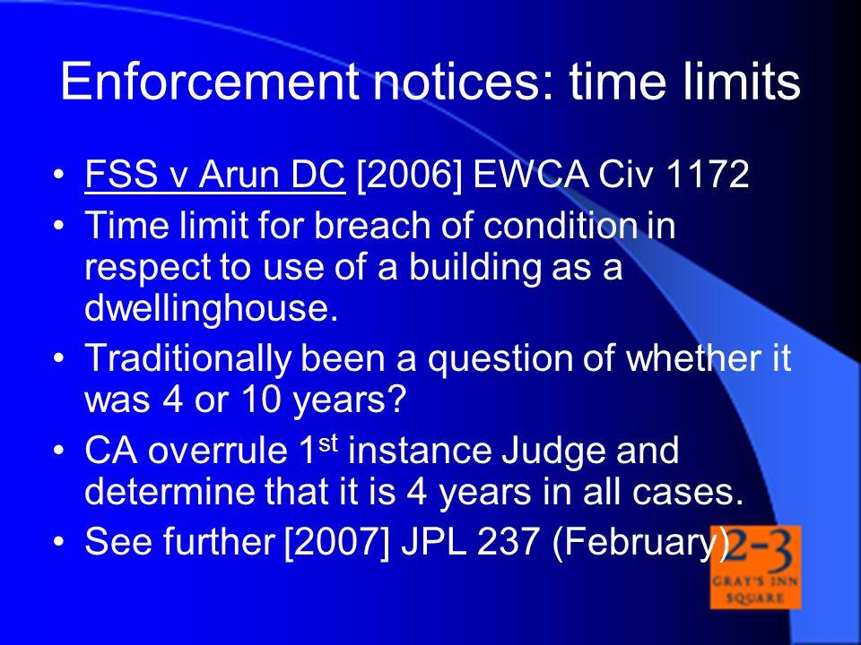 Enforcement notices: time limits