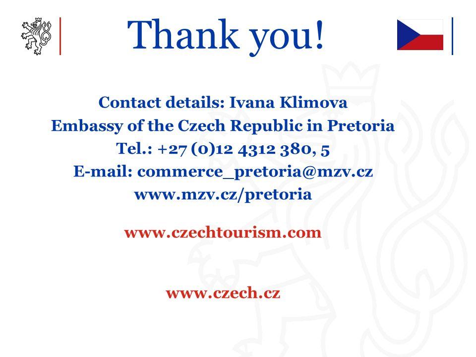 Thank you! Contact details: Ivana Klimova