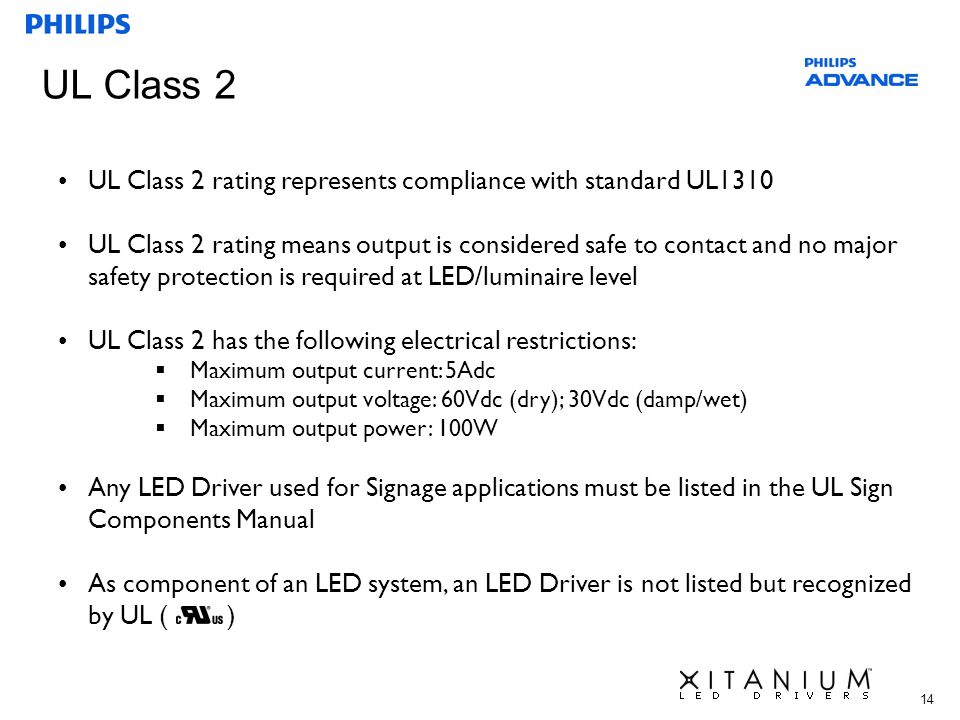 UL Class 2 UL Class 2 rating represents compliance with standard UL1310.