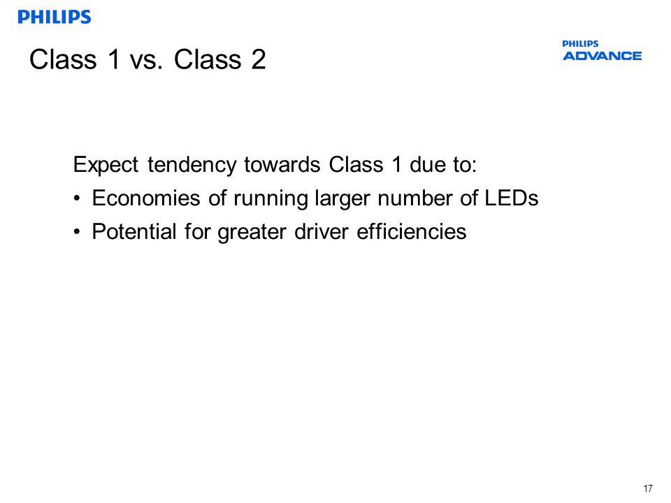 Class 1 vs. Class 2 Expect tendency towards Class 1 due to: