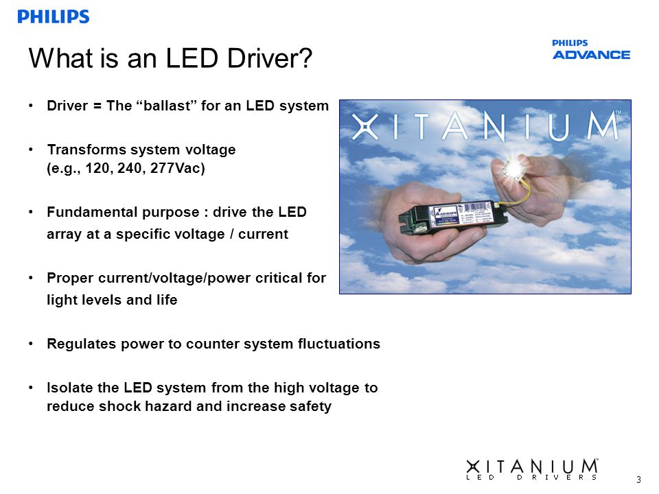 What is an LED Driver Driver = The ballast for an LED system