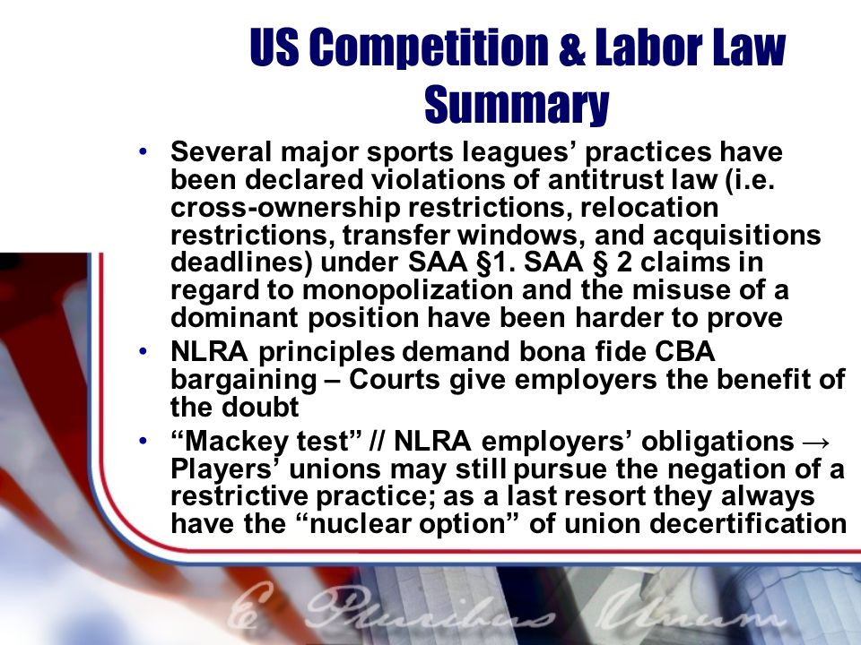 US Competition & Labor Law Summary