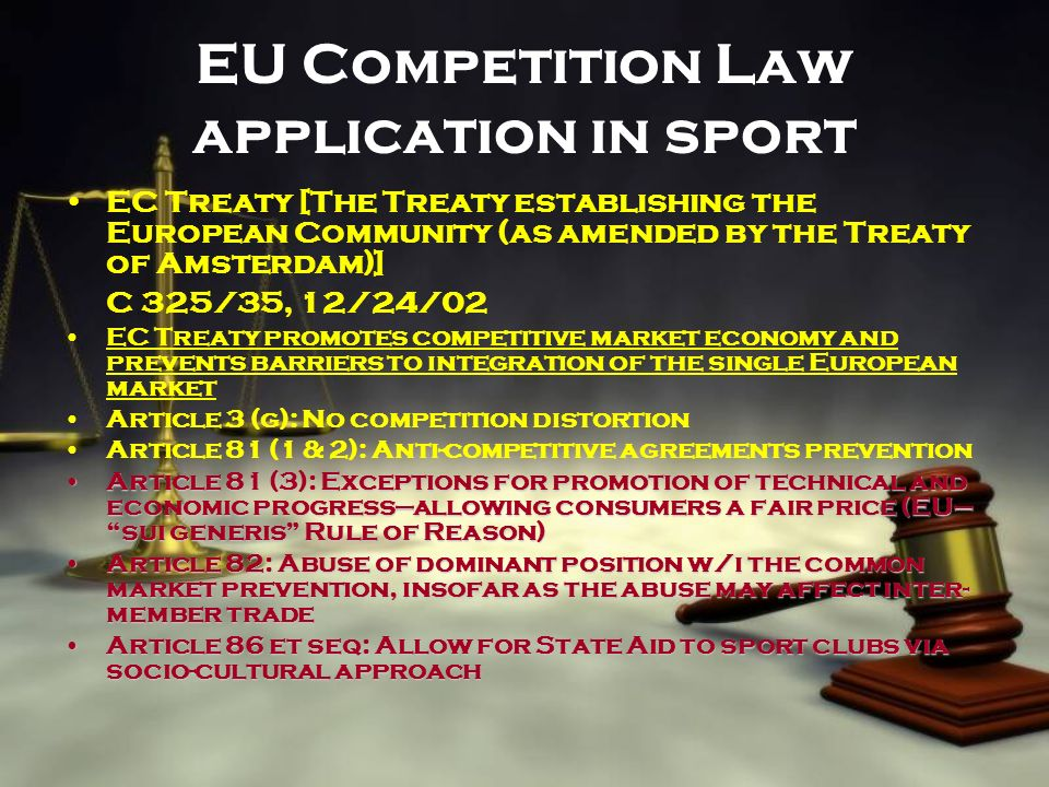 EU Competition Law application in sport